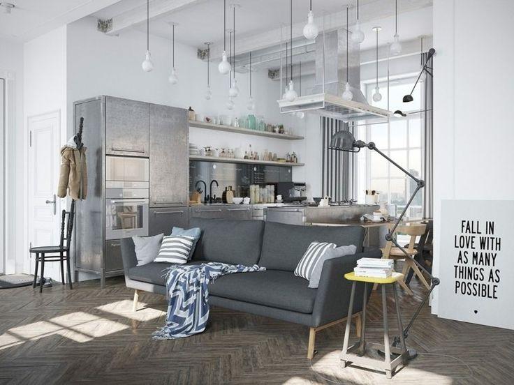 Skandinavisch inspiriertes Studio-Dekor im ...