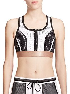 Monreal London - Perforated Zip-Front Sports Bra