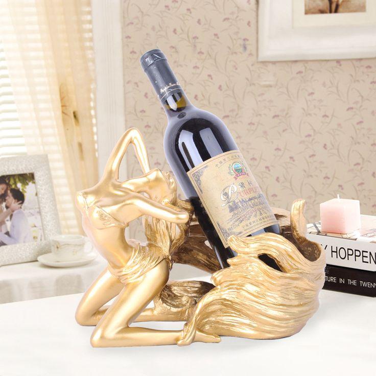 P-Flame Mediterranean Styles Beauty Femme Wine Rack Statue Resin Home Decor Gifts Barware Decoration Craft Wine Bottle Holder