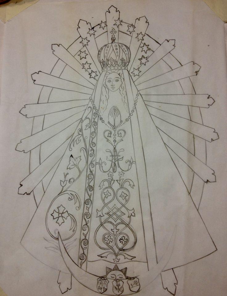 En camino XI. Boceto de la Virgen de Lujan. 2017.