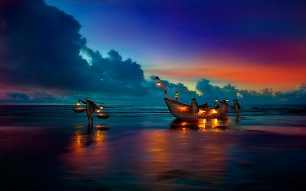 .Dark Night, Trav'Lin Lights, Colors, Boats, Beautiful Sunsets, Beach, Places, Landscapes Photography, China