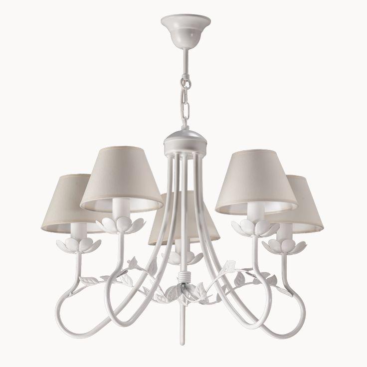 Lampa wisząca FILON 5  w stylu romantycznym dostępna na naszej stronie www.przystojnelampy.pl   #lampa #wisząca #lamp #lamps #lampy #oświetlenie # lampa z abażurem #abażur #styl romantyczny #romantic #romantyczny #white # biała lampa