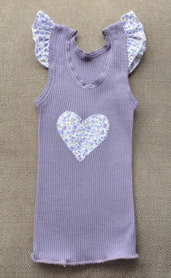 Baby Girls mauve Singlet with applique Heart and by Angellaschild, $11.35