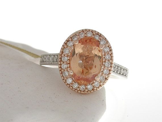 Imperial Topaz Diamond Halo Rose Gold - One of a Kind on Etsy, $2,850.00