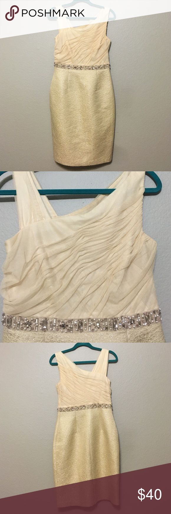 Kay Unger NY Formal cocktail wedding dress Beautiful cream formal dress. Belt had beaded pearls and jewels. Worn a handful of times, needs to be dry cleaned, but has a lot of wear left in it! Dresses Wedding