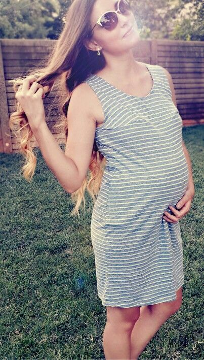 Striped beach dress. Fitted for that gorgeous belly bump.