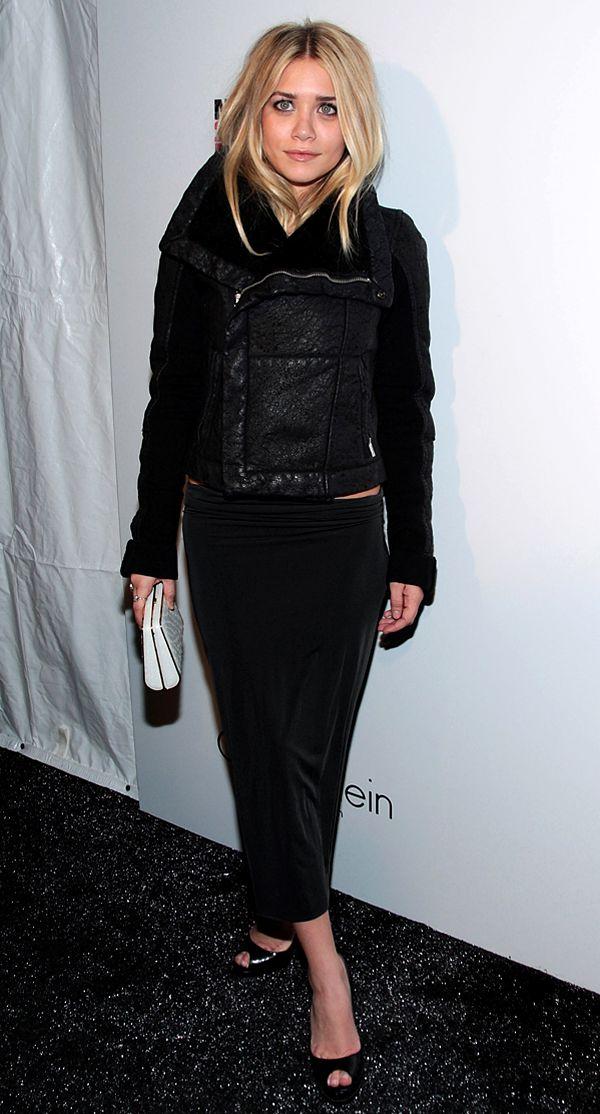 Asley Olsen outfit - Calvin Klein fashion show look - Rick Owens leather jacket Black midi skirt Christian Louboutin peep toe pumps - #celebrities #style #olsen