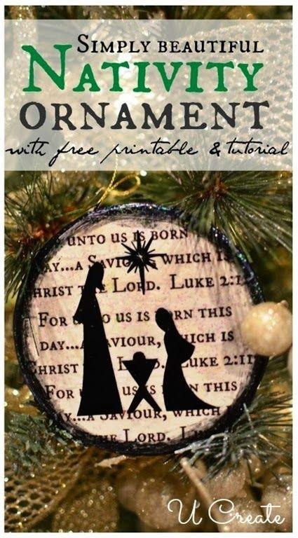 Beautiful Nativity Ornament Tutorial {free printable, too} - Ucreate