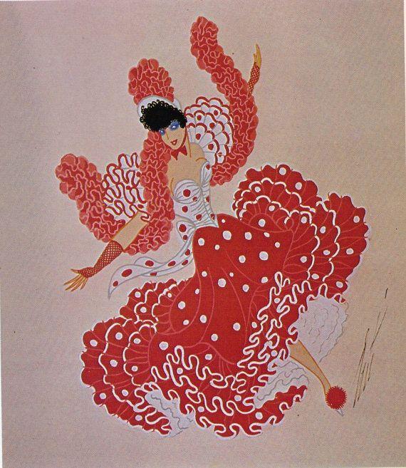Erté Print, Art Deco Dress Design Vintage Art Paper Ephemera Original Print. Sumptuous Eye Catching Crimson