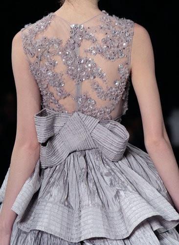 : Eliesaab, Wedding Dressses, Elie Saab, Gowns, Lace Back, Big Bows, Grey Dresses, Back Details, Haute Couture