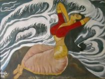 "Vijaya Sinha's creation ""HIGH TIDE"". Painting. EmoTagged Wonder"