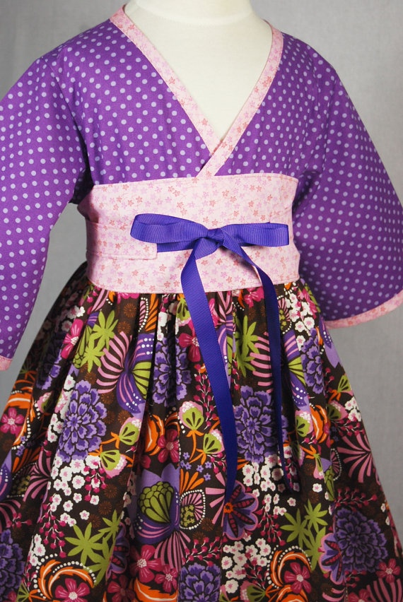Little Girls Dress  Purple and Pink Kimono Style by pinkmouse, $44.00