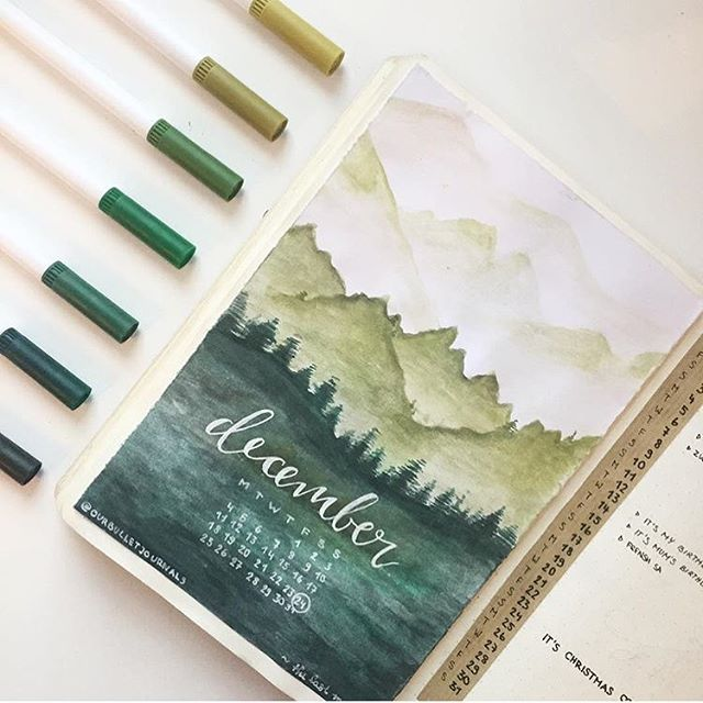 Pretty greens! ⛰ @ourbulletjournals • • • #bujo #bulletjournals #bulletjournal #bullet #journal #bulletjournallife #planner #notes #love #life #pens #stationary #bulletjournalideas #watercolour #inspo #inspiration #study #muji #beautiful #progress #diary #December #art #washi #goals #wanderlust #travel #christmas #nomad