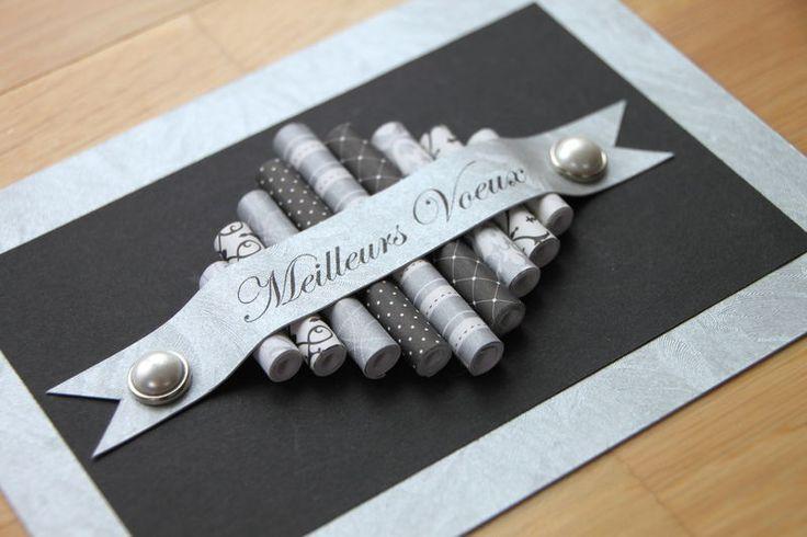 carte de vœux avec rouleaux de papier