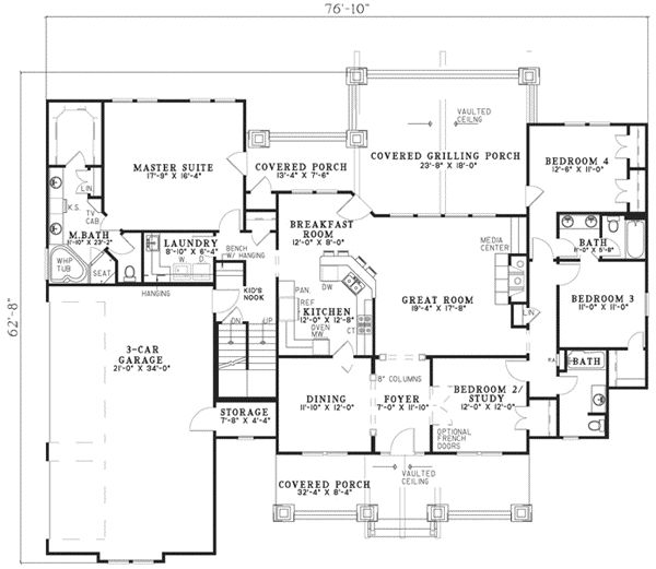 craftsman style house plans 4693 square foot home 1 story 7 bedroom and - House Plans 3000 To 3500 Square Feet