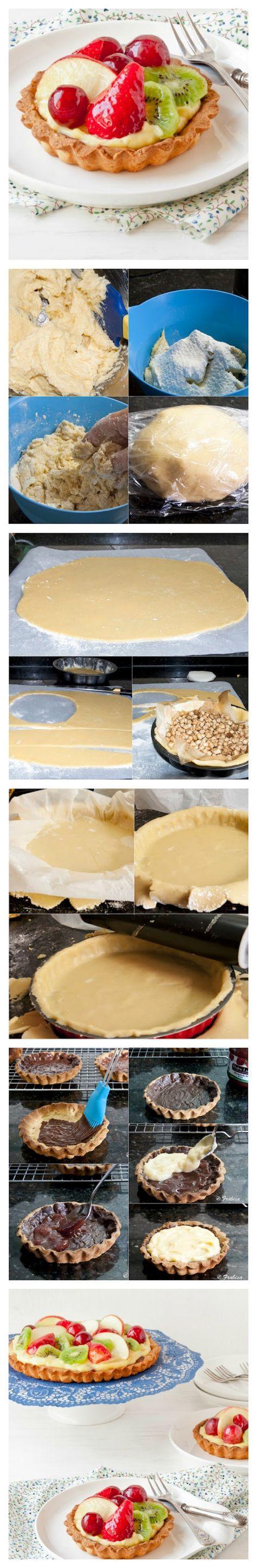 Tartaletas de chocolate, crema pastelera y frutas