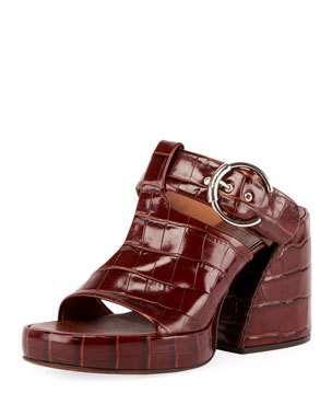 45a6c5ef982c Chloe Wave Crocodile-Embossed Sandals