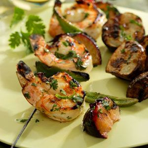 Cilantro-Lime Shrimp & Plum Kebabs Grilled Seafood Recipes - Easy Recipes for Grilling Seafood - Delish.com