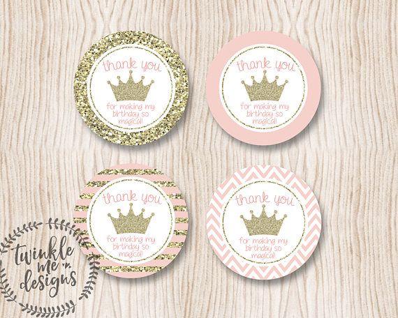 PRINCESS Favor Tags Princess Gift Tags Princess Thank You Tags Princess Party Favor Tags Princess Thank You Stickers