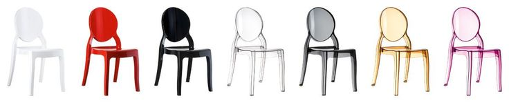 [Siesta Exclusive   Contract Collection   ELIZABETH Chair] Stacking chair for indoor and outdoor use in shiny technopolymer PA6 nylon or clear polycarbonate. Scratch resistant, self - extinguish classification V2, UV - resistant.