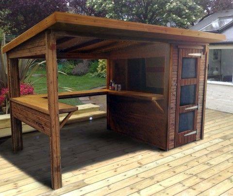Garten Bar aus Holz mit Holzüberdachung