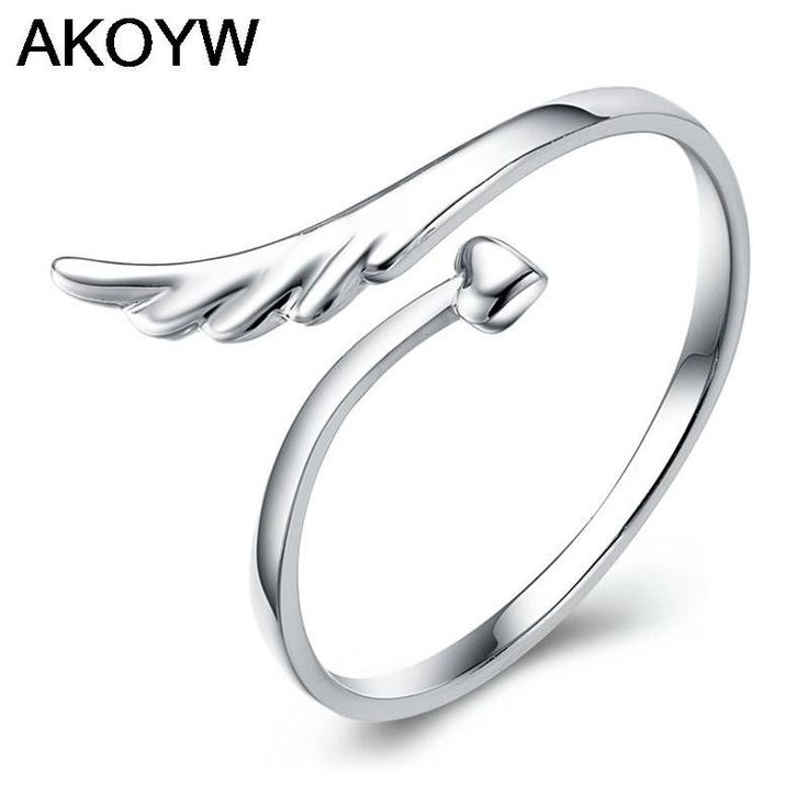 Silver plated angel wings opening ring Fashion female models cute vintage jewelry manufacturers, wholesale jewelry