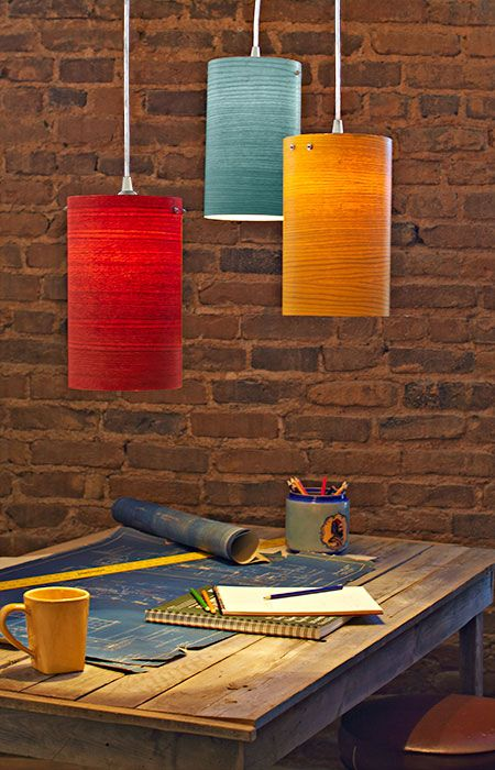 These are wood! Jack, you and Cora could make these easily and hang them over the dining table and from the ceiling in the family room! You could do different shades of blue and some white. Completed wood veneer pendant lights