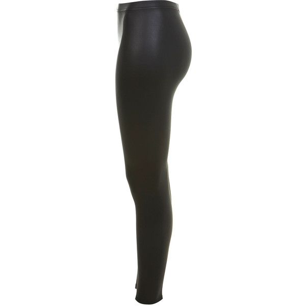 Matt Wetlook Legging ($32) ❤ liked on Polyvore featuring pants, leggings, bottoms, jeans, shiny black pants, shiny pants, matte black leggings, matte leggings and wet look pants