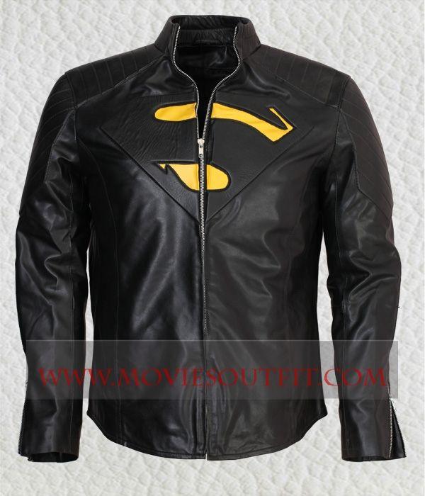 Clark Kent Superman Superhero Mens black leather jacket