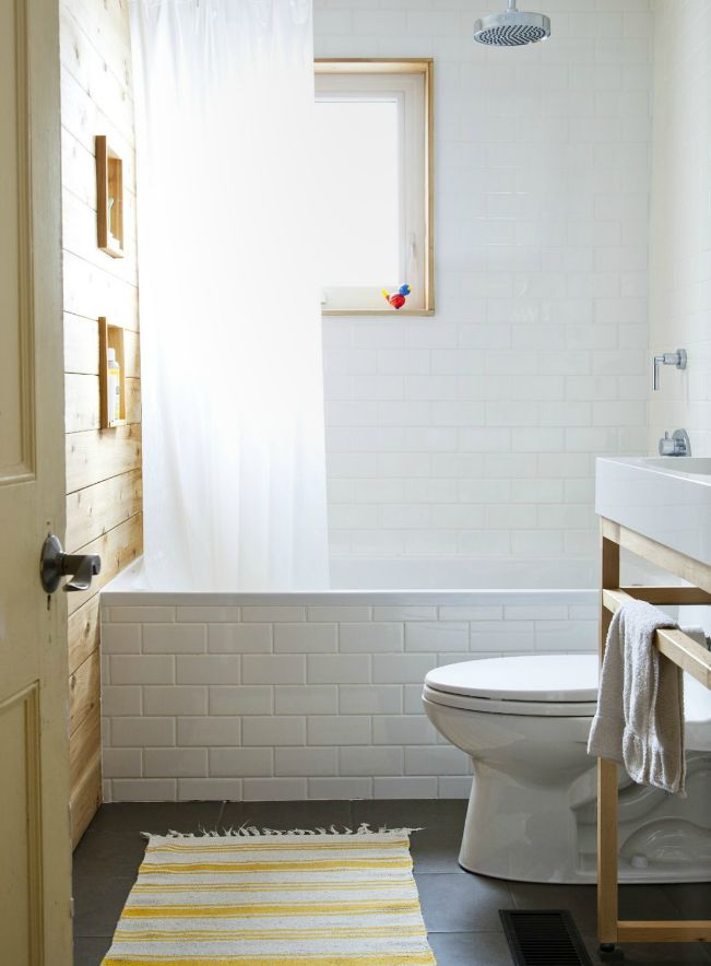 Love the subway tile around the bathtub spaces pinterest for Tiling around a bath