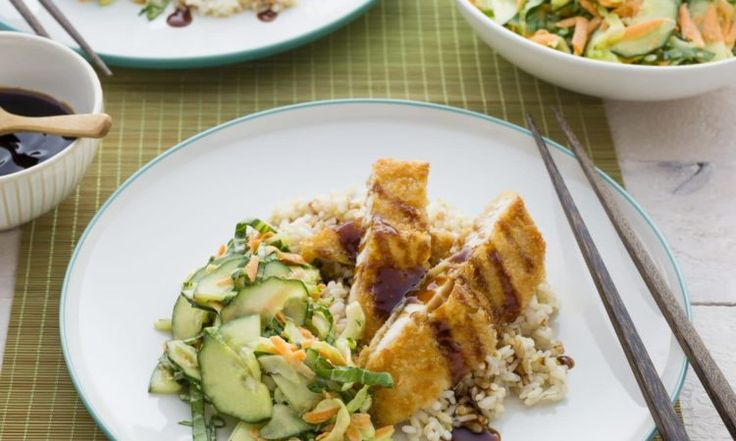 Chicken Katsu on Brown Rice with Asian Slaw