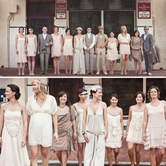 mismatched bridal parties | Mismatched vintage feel bridal party www.winwithmtee.com