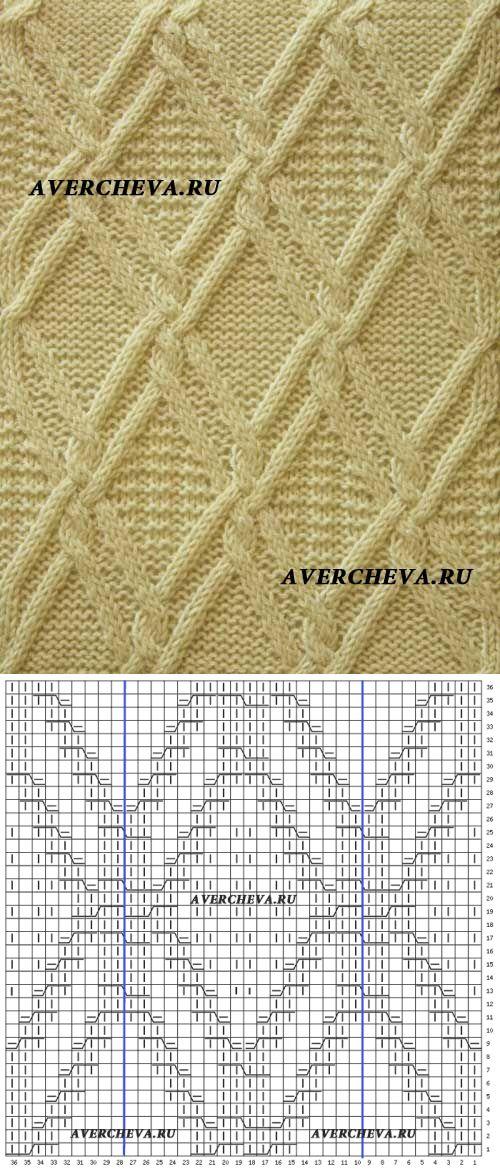 Узор спицами из кос 1004 « Ромбы» | каталог вязаных спицами узоров