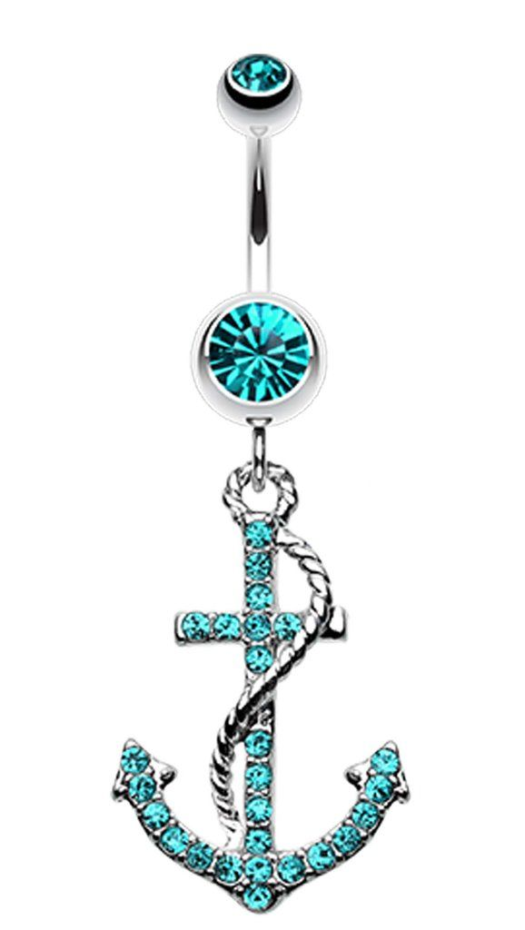 Glistening Glass-Gem Anchor Dock Belly Button Ring - 14 GA (1.6mm) - Teal - Sold Individually