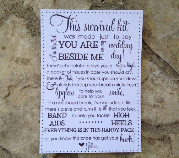 Bridesmaid survival kit cards