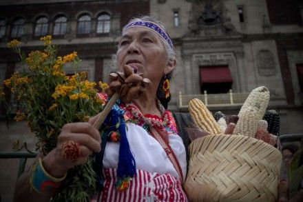 Protestan contra el maíz transgénico en el Zócalo capitalino.  Foto: Xinhua / Alejandor Ayala