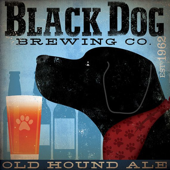 BLACK DOG brewing beer company black labrador graphic artwork on canvas by stephen fowler