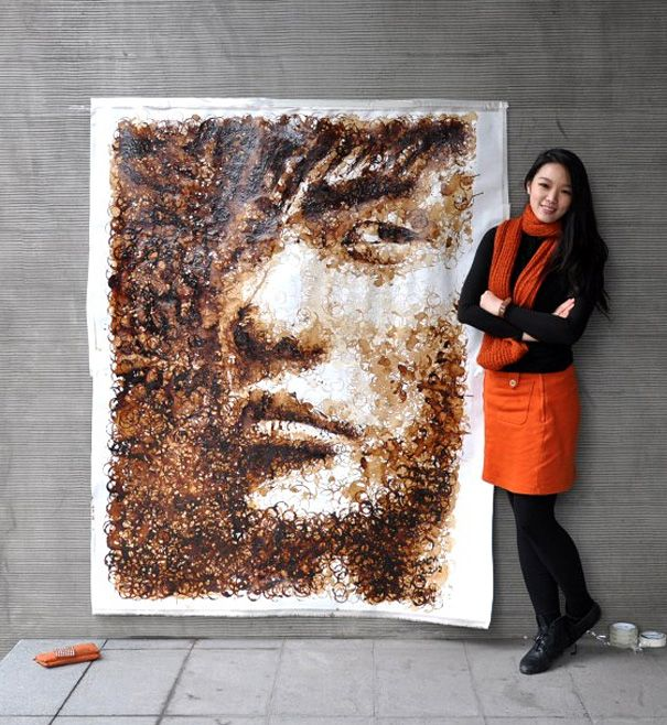 painting made of coffee cup stains
