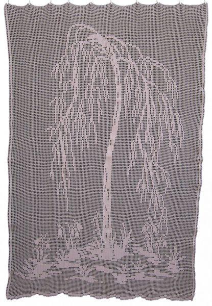gehäkelte Gardine mit Birken-Design - Abmessung: ca. 85 x 130cm (BxH) Farbe: ... - die lachende Ziege