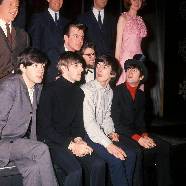 Ringo remembers Cilla Black: Tommy Quickly, Billy J Kramer, Rolf Harris, Cilla Black (in pink dress), Paul McCartney, Ringo Starr, George Harrison, John Lennon - at 'The Beatles' Christmas Show'