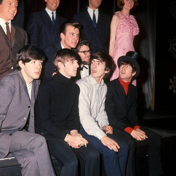 @hardtosayno | Tommy Quickly, Billy J Kramer, Rolf Harris, Cilla Black (in pink dress), Paul McCartney, Ringo Starr, George Harrison, John Lennon - at 'The Beatles' Christmas Show'