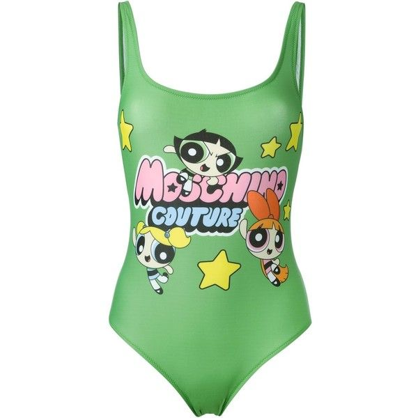 Moschino Swim Power Puff Girls one-piece ($240) ❤ liked on Polyvore featuring swimwear, one-piece swimsuits, green, one piece swim wear, one piece swimsuit, green swimsuit, green one piece swimsuit and low back swimsuit