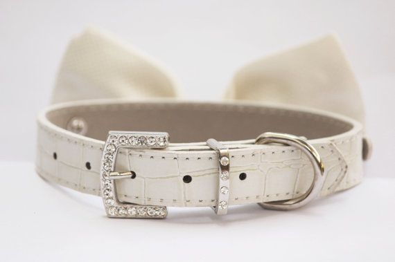 Dog Bow Tie - White Wedding Dog Collar- Cute Dog Bowtie, with high quality leather collar on Etsy, $29.99