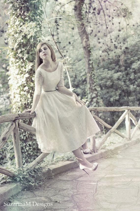 Ivory Cream 50s Wedding Dress Full Skirt by SuzannaMDesigns