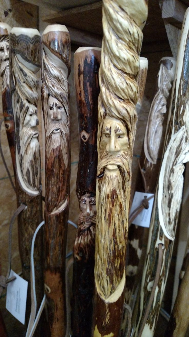 Walking stick wood spirit carving hand