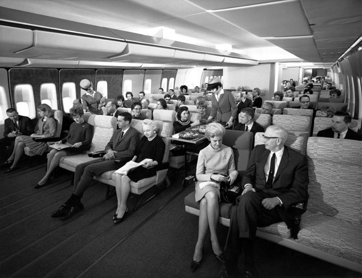 Believe it or not, this was Economy Class seating on a Pan Am 747 in the late 1960's