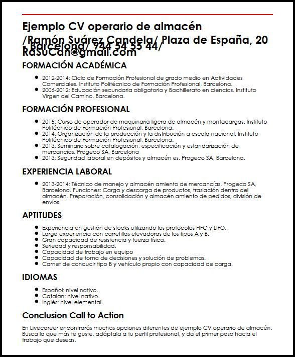Modelo De Curriculum Vitae Operario De Produccion Modelo De Curriculum Vitae