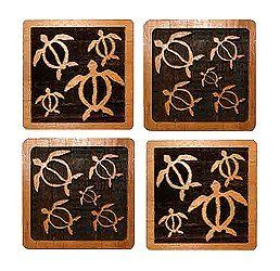 Hawaiian Engraved Wood Coasters Honu Or Turtles by KC. $18.88. Hawaiian Home Accessories add a beautiful and warm tropical touch to your home or office!. Hawaiian Laser Engraved Wood Coasters - 4 pack set. Drawing the essence of Hawaii's rich culture, our elegantly designed coasters will add a delicate touch to your dining and entertaining endeavors. Measures 3.5 inches wide.
