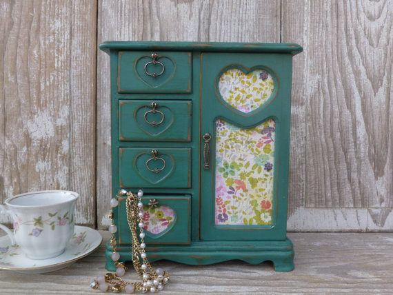 Jewelry Box Painted in Distressed Teal by beckibees on Etsy, $45.00