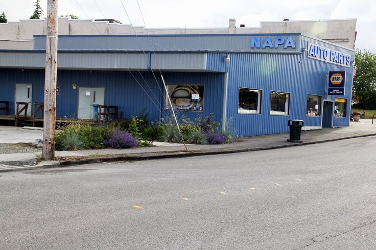 NAPA Auto Parts store rain garden cluster.  1st NAPA store in North America to have a rain garden.  This is in the Town of Eatonville, WA - Rain Garden Capital of the US.